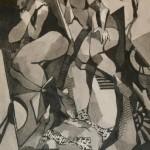 Trois filles étendues dans un paysage lacustre